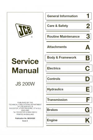 JCB JS200W XO, AMS Machines Use Supplement 9803/6450 Service Manual