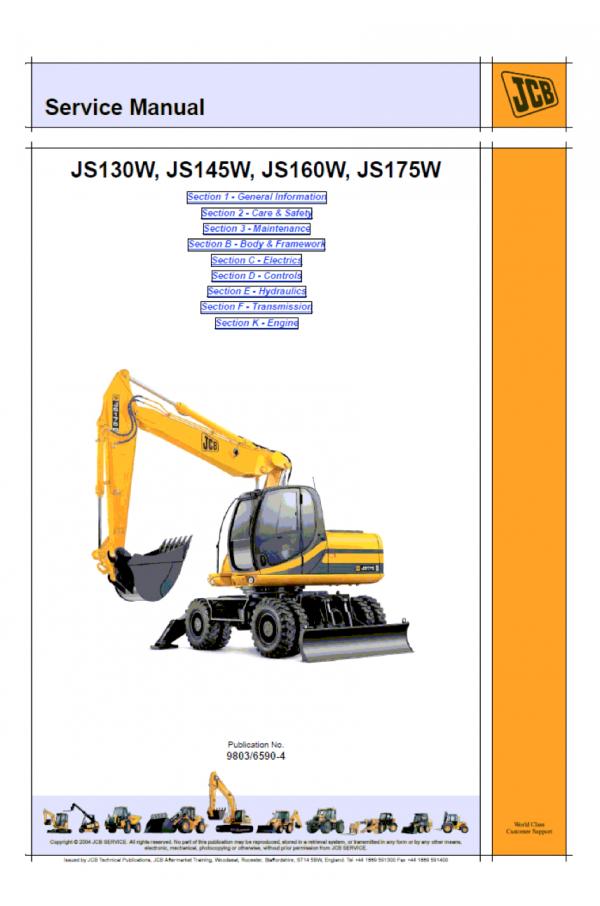 JCB JS130-175W Isuzu Tier 3 Service Manual on