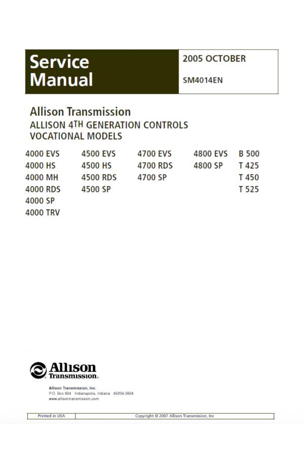 allison transmission 4000 series vocational models 4000evs 4000hs rh heavymanuals com