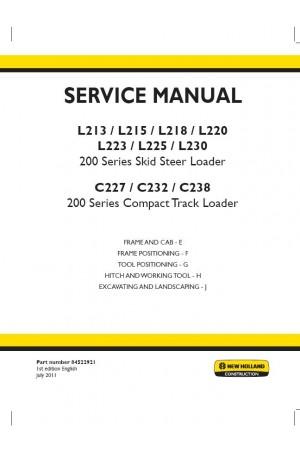 New Holland CE C227, C232, C238, L213, L215, L218, L220, L223, L225, L230 Service Manual