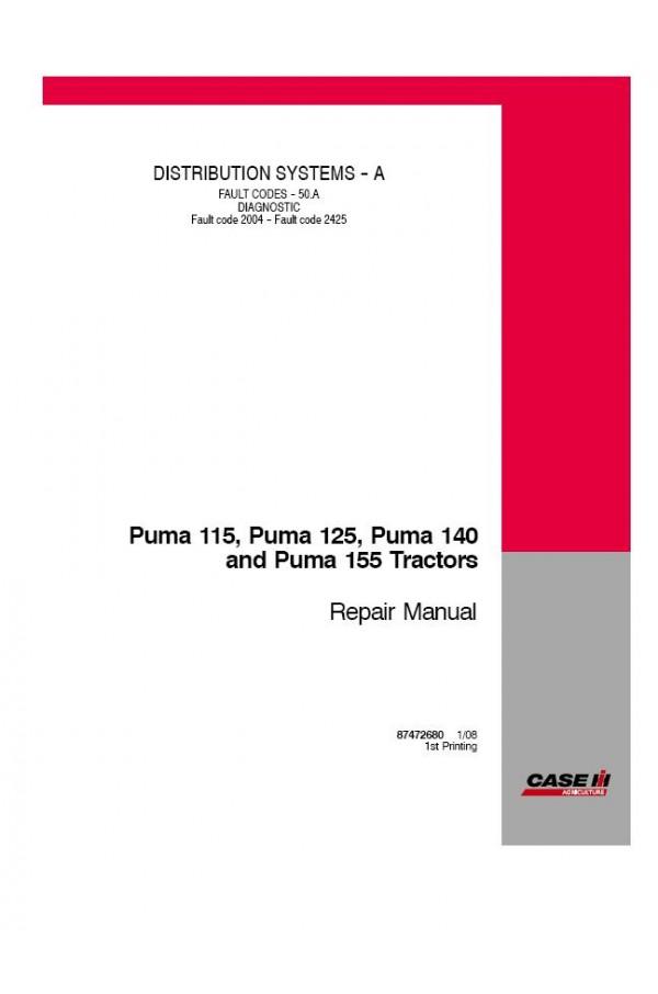 Caso Puma 115 125,140 y 155 tractores-Taller//Servicio//Reparación Manual.