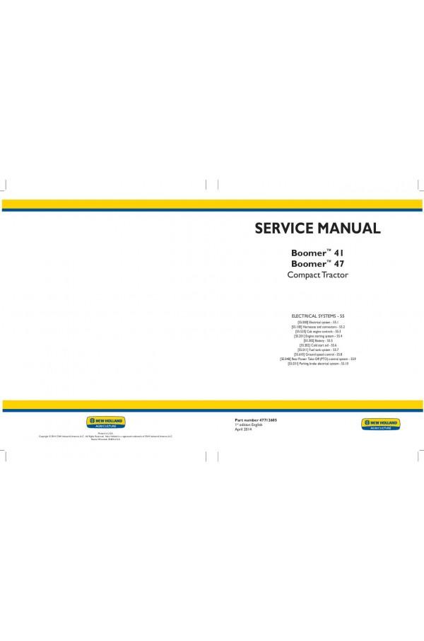 New Holland Boomer 41, Boomer 47 Service Manual on